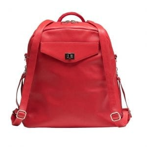 Red Leather Convertible Backpack