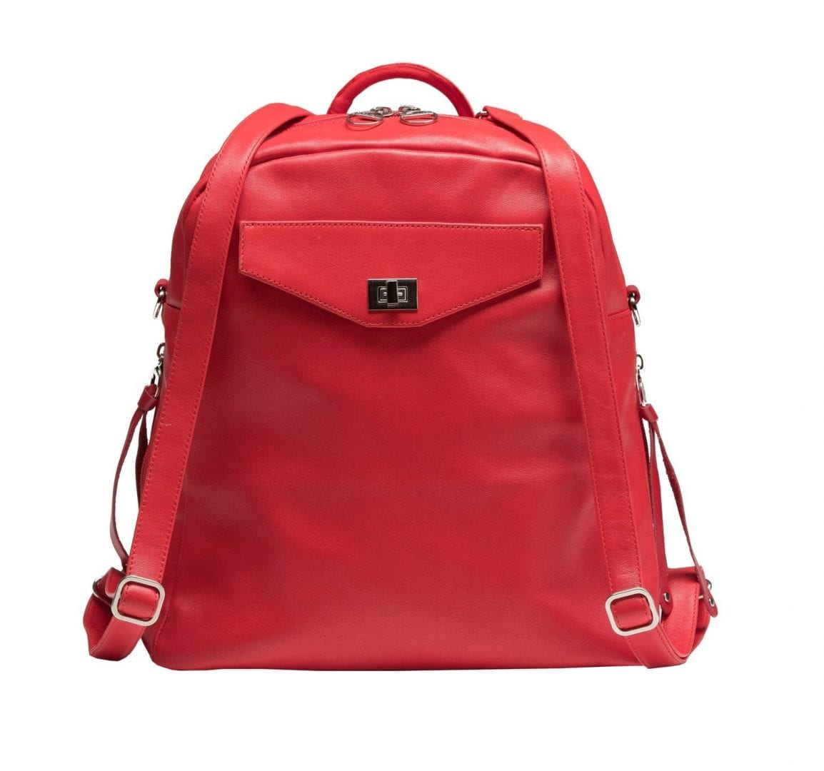 Three-Way Red Leather Shoulder Bag