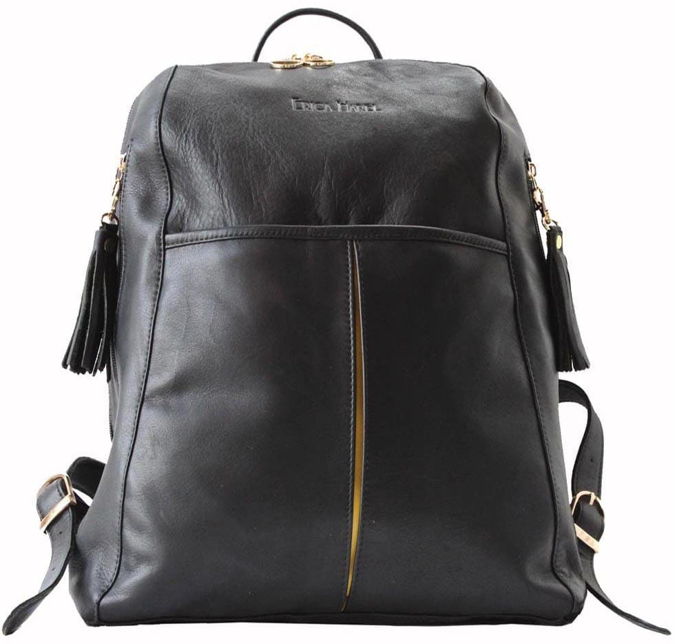 black yellow leather backpack