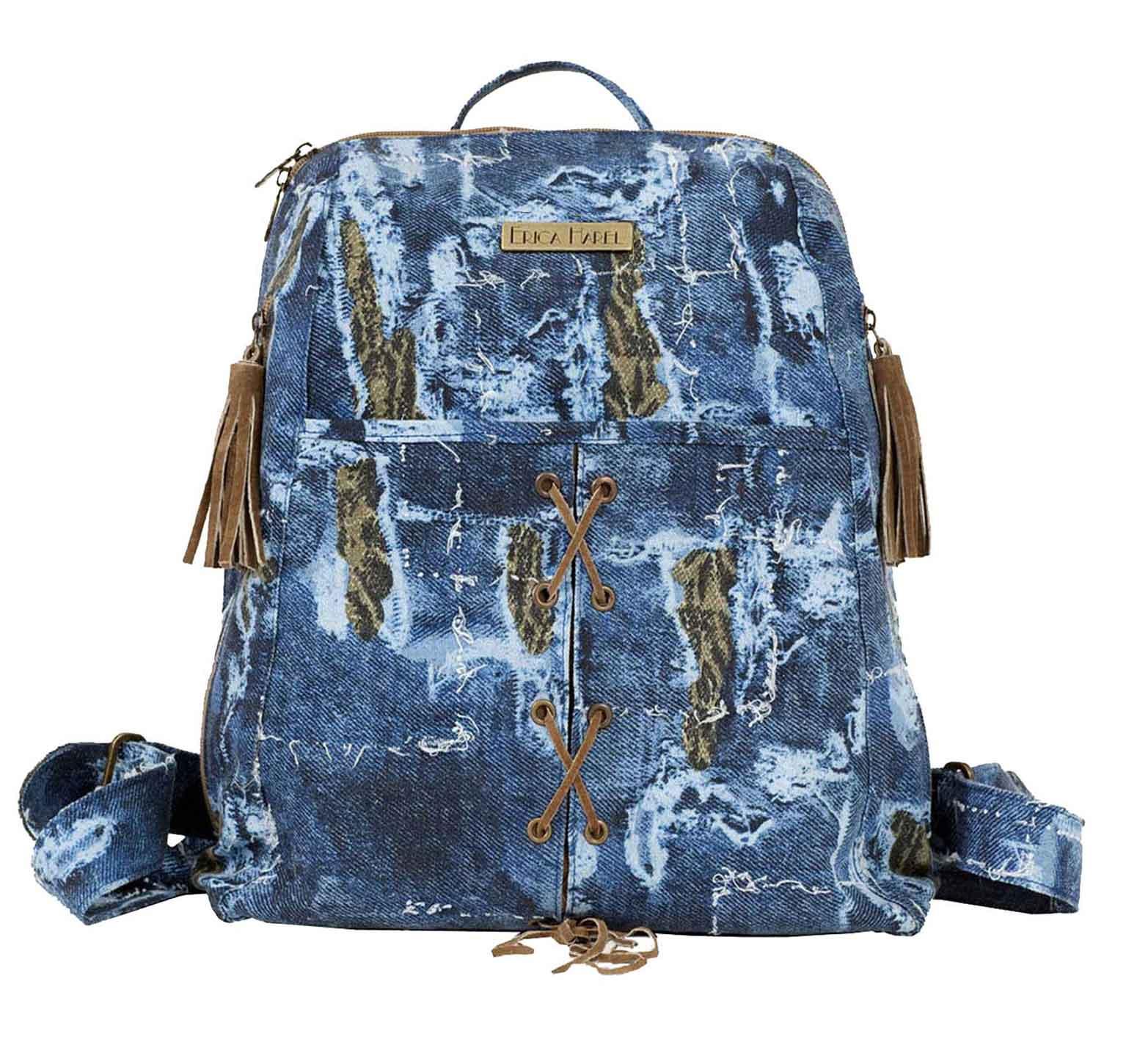 denim fabric vegan backpack