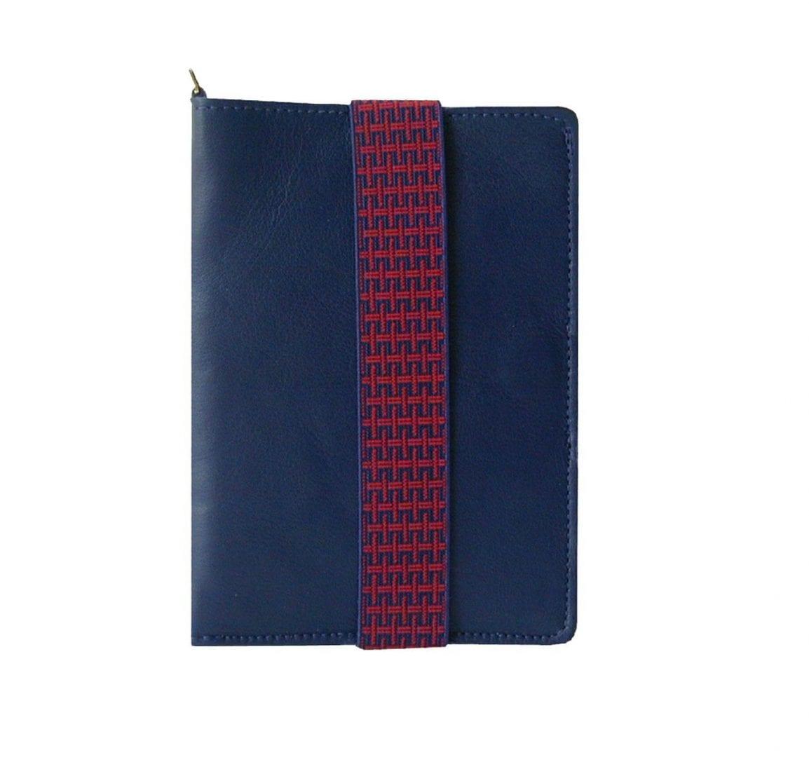 blue leather passport case