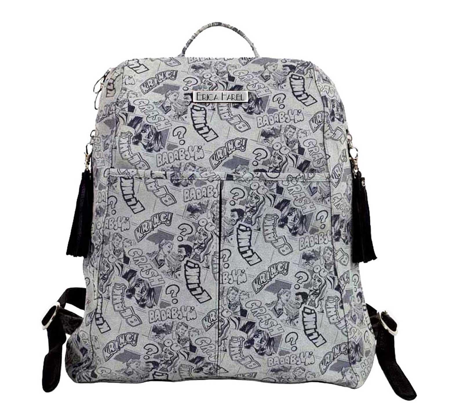 grey leather designer backpack