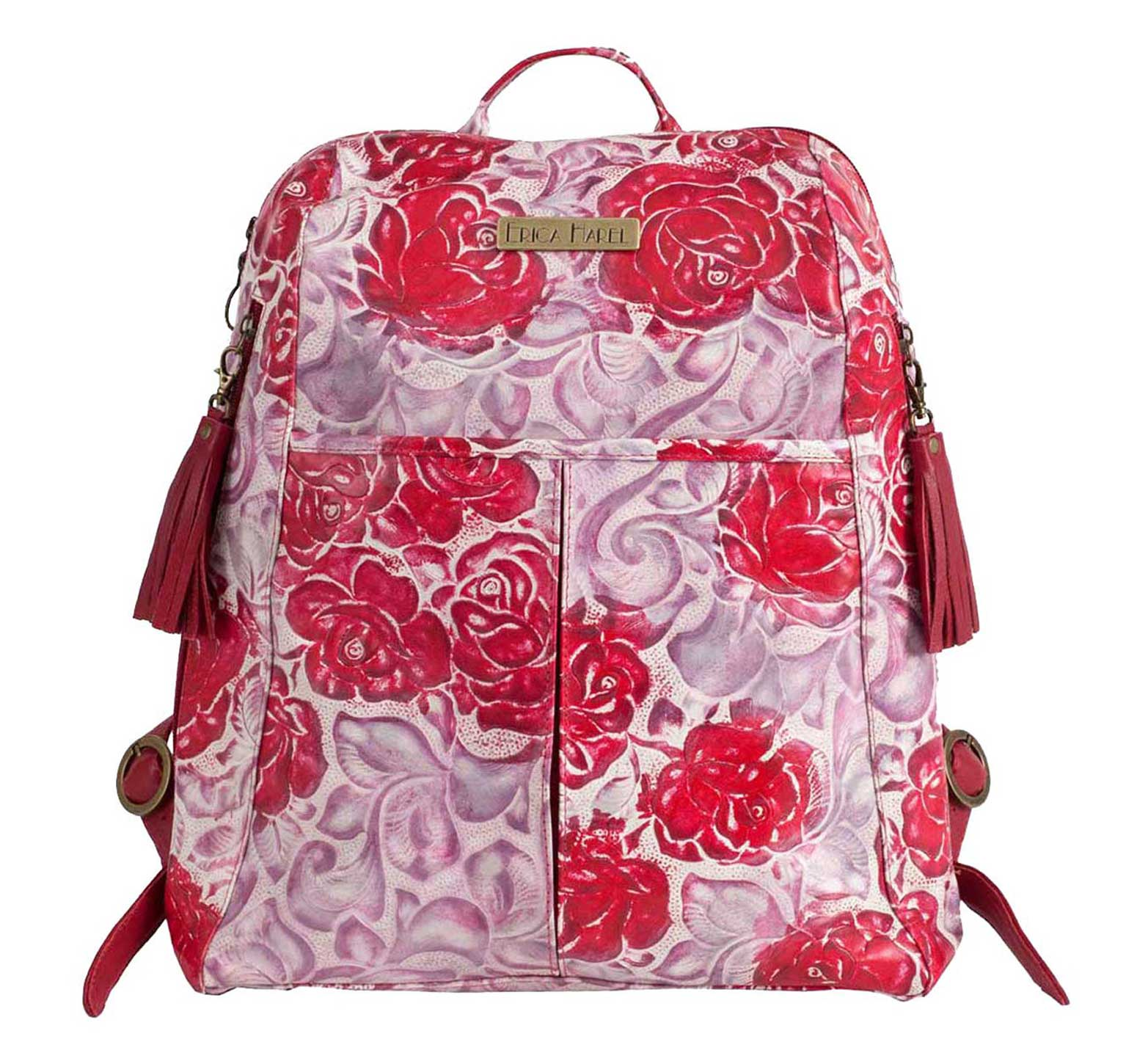 floral print red leather backpack