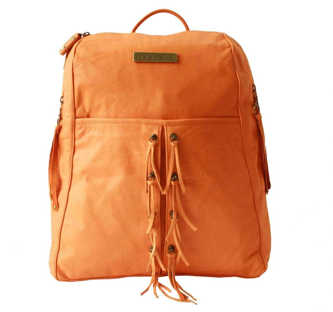 soft orange leather backpack
