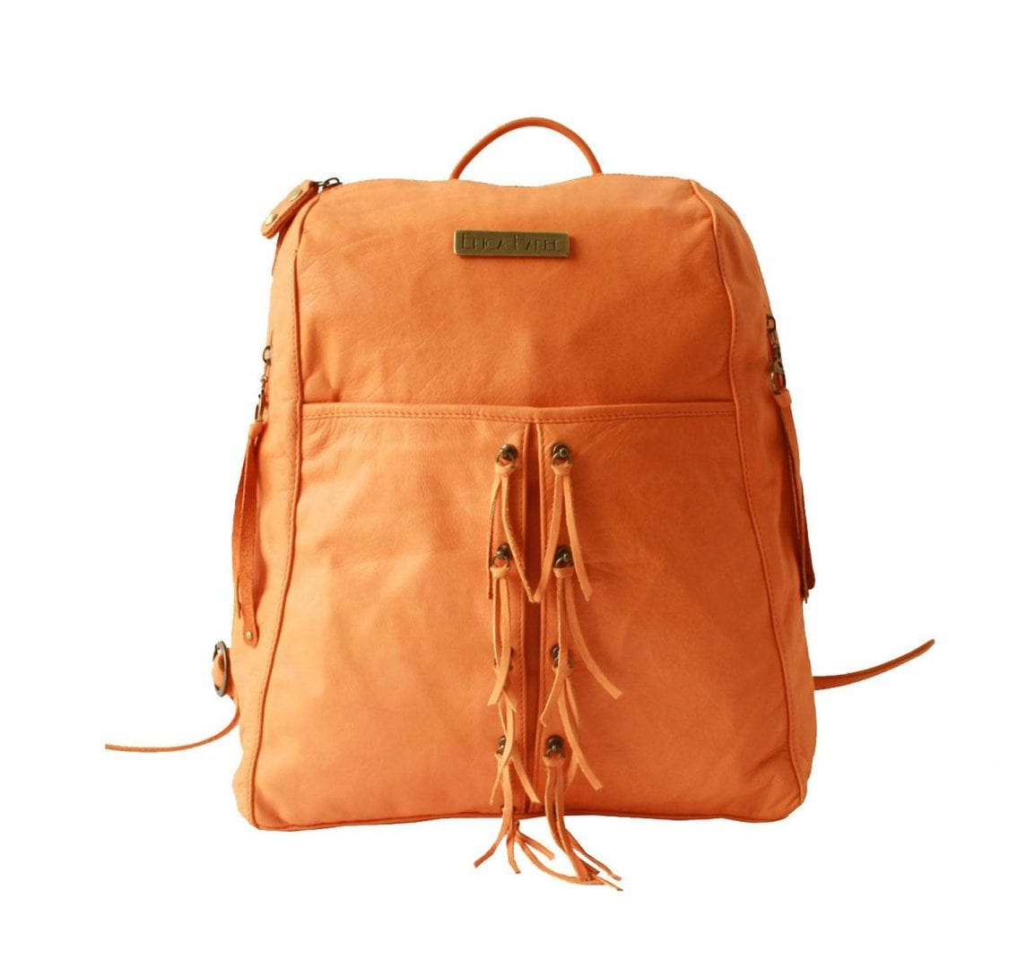 soft orange leather backpack