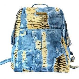 distressed denim tiger leather backpack
