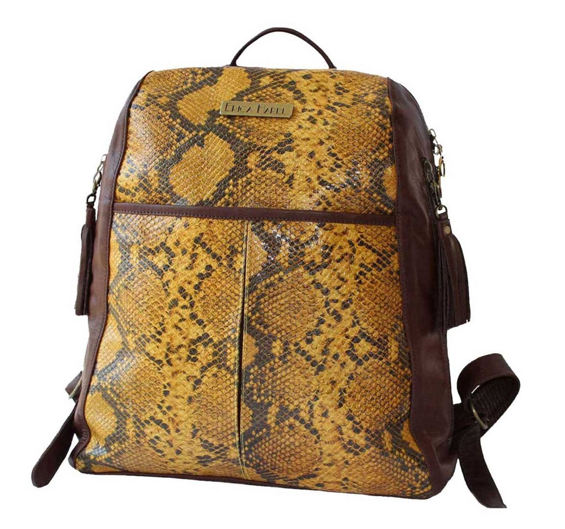 honey python brown leather backpack