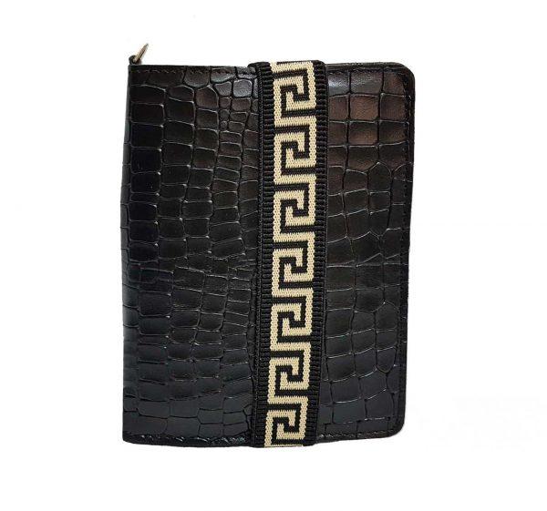 black leather passport holder