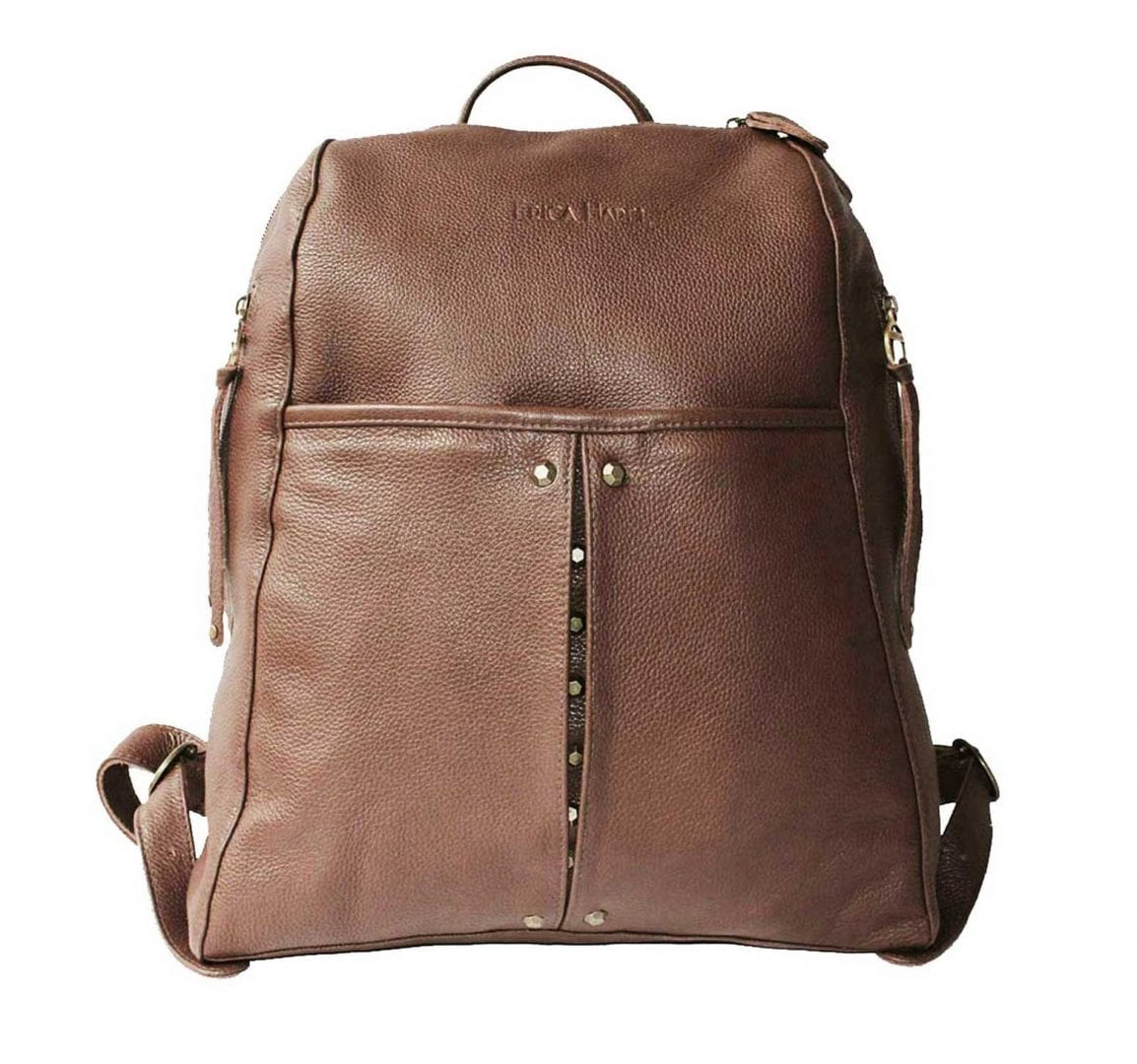 brown leather backpack with studs