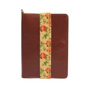 brown orange leather passport case