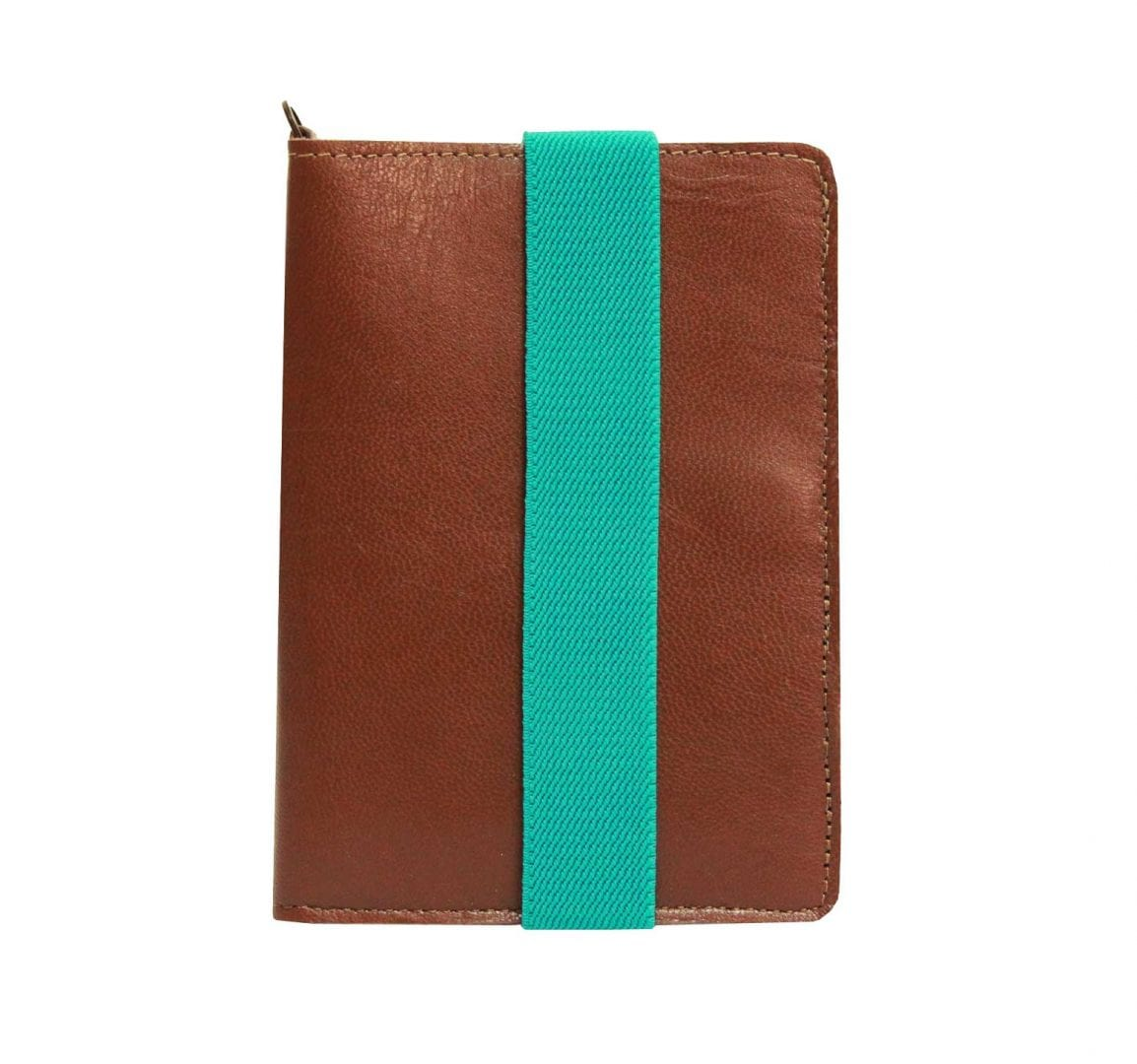 turquoise brown leather passport case
