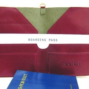 burgundy leather passport case