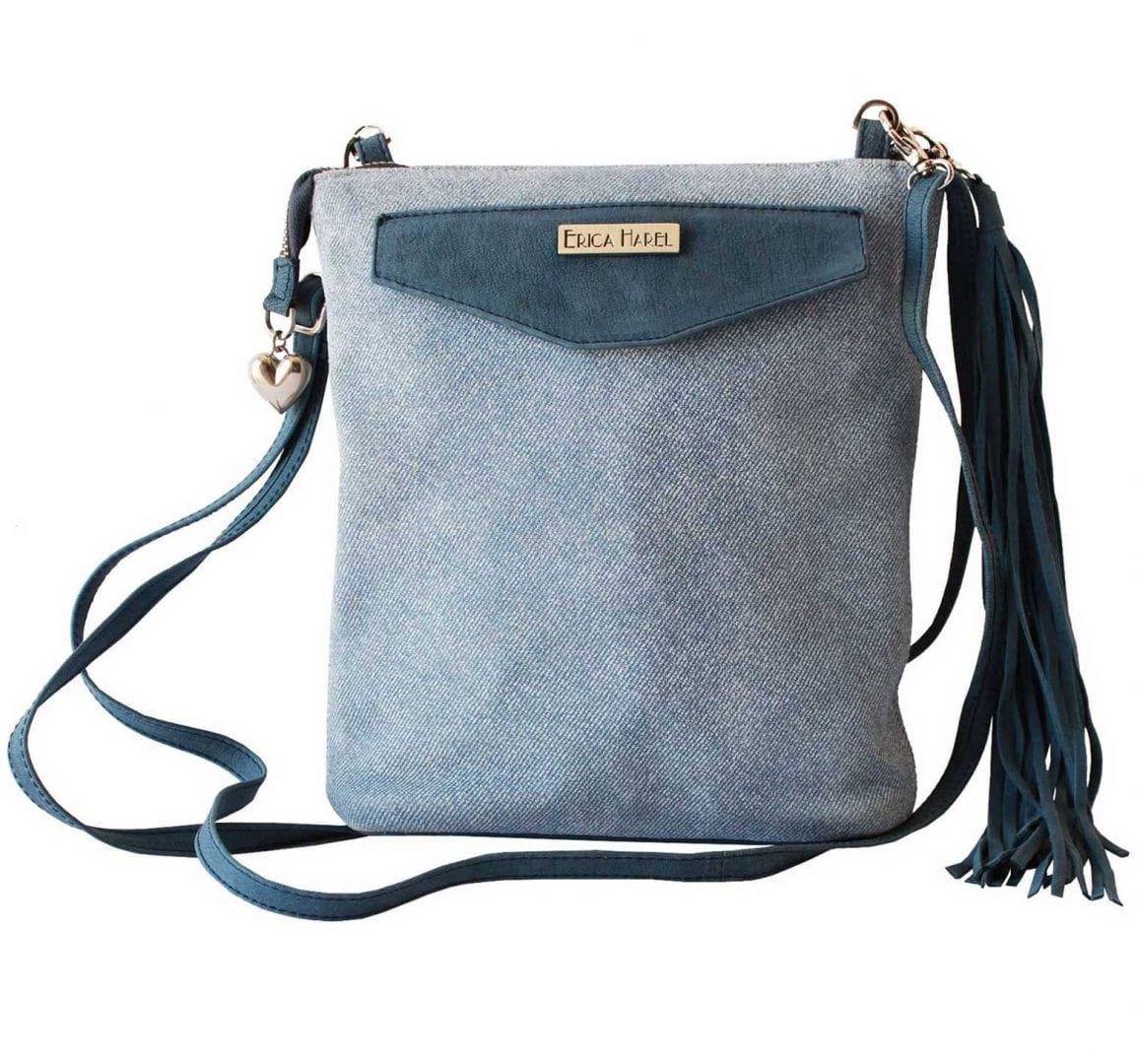 denim blue leather mini crossbody