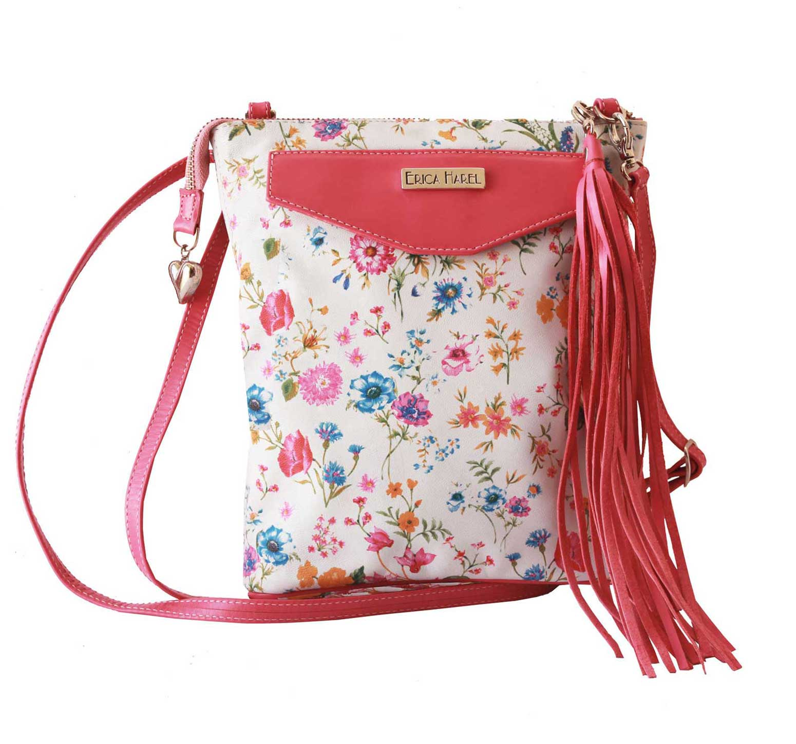 floral white leather mini crossbody