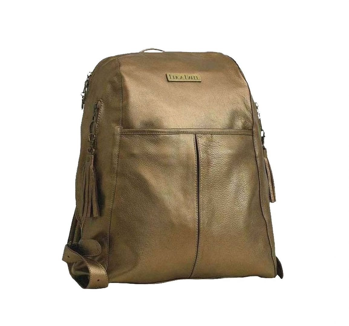 soft gold leather backpack
