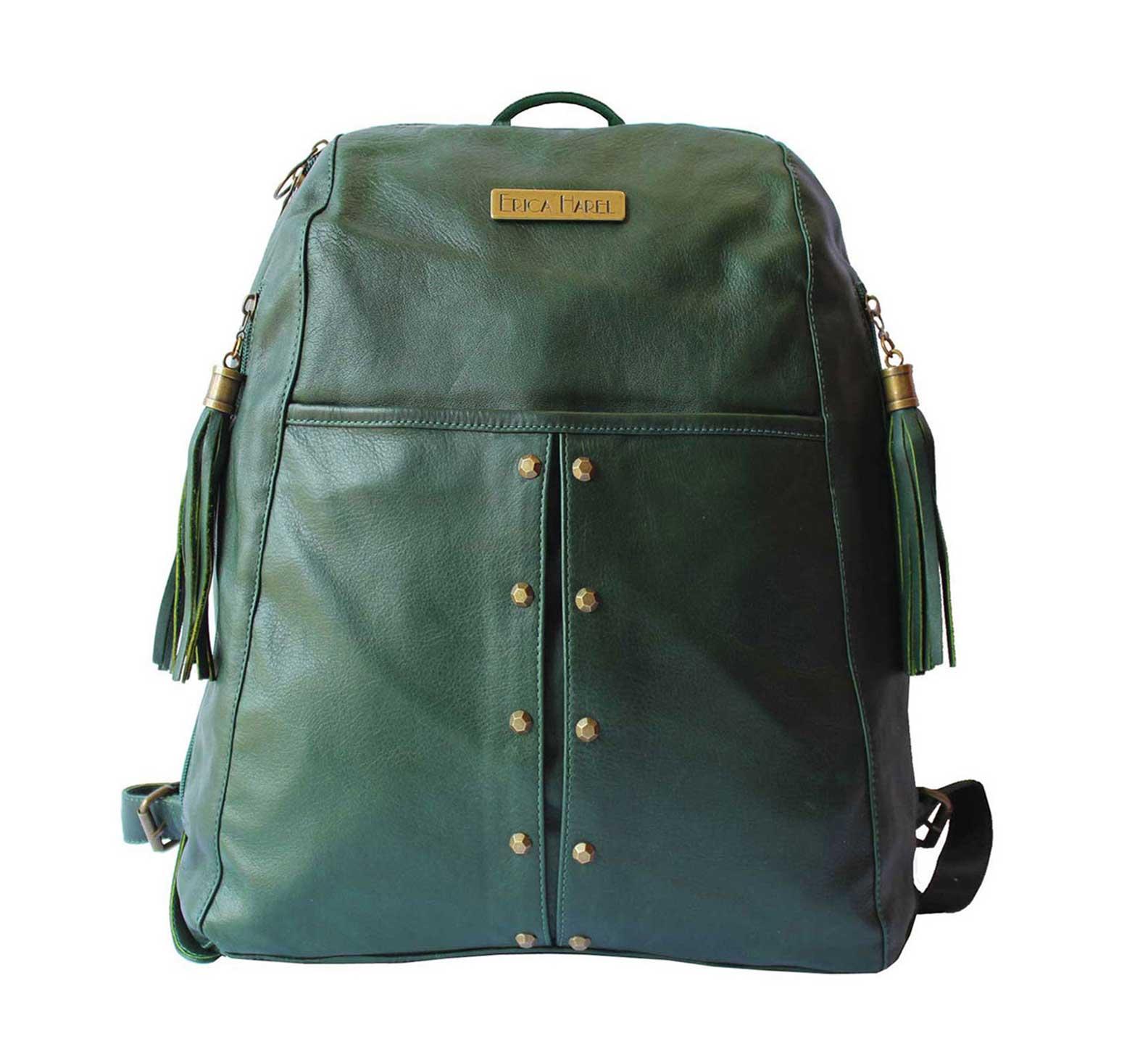 dark green soft leather backpack