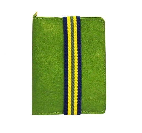 green leather passport holder