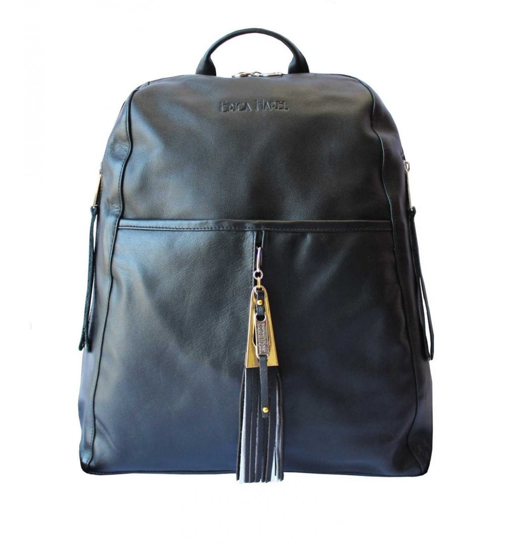 Classic Black Leather Womens Backpack