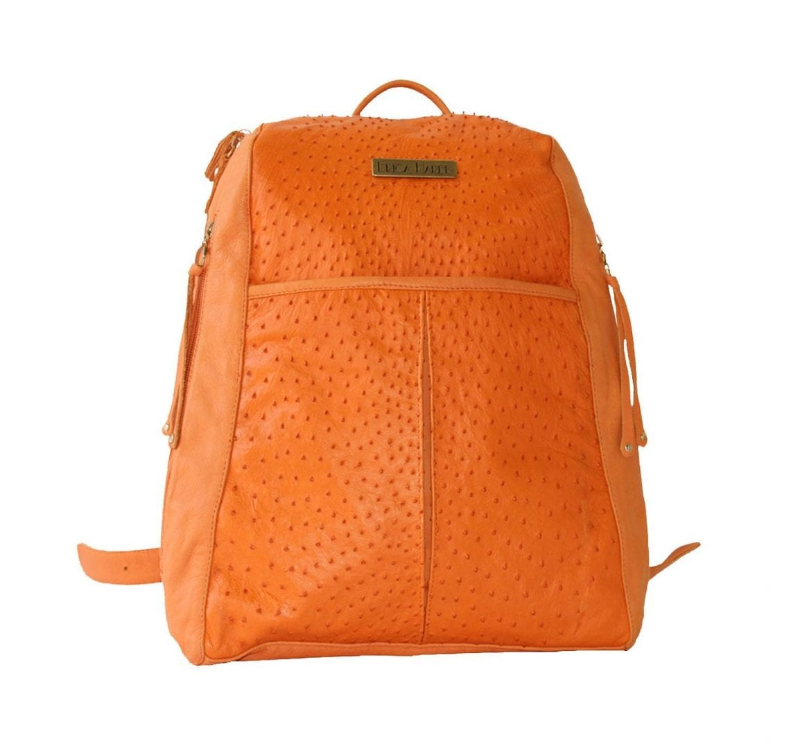 Orange Ostrich Leather Backpack | Ostrich and Leather Backpack