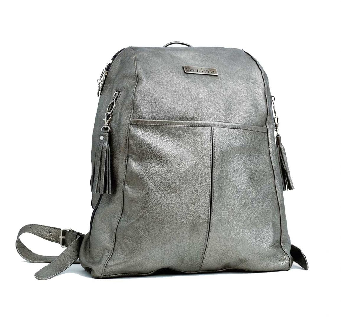 soft silver leather backpack