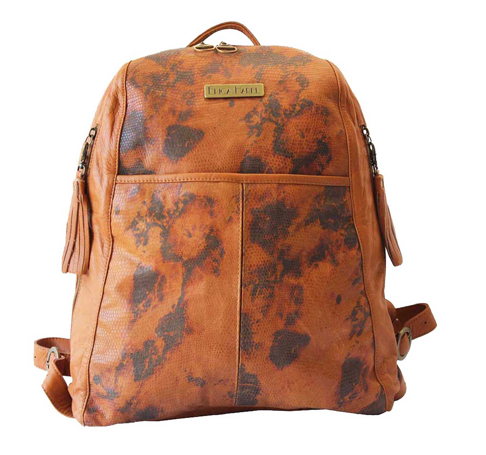 Soft Camel Leather Backpack | Printed Leather Designer Backpack