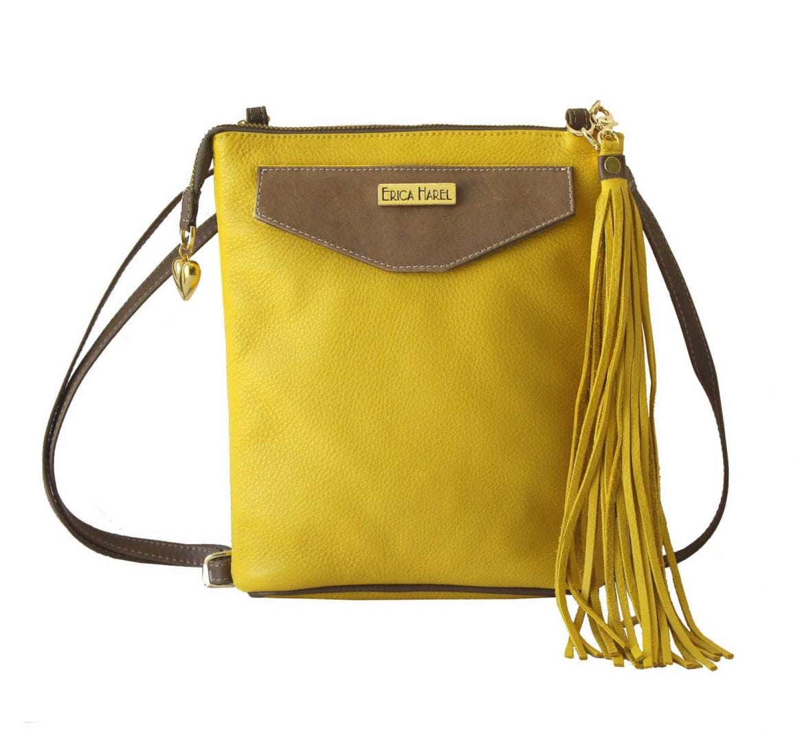 yellow leather mini crossbody
