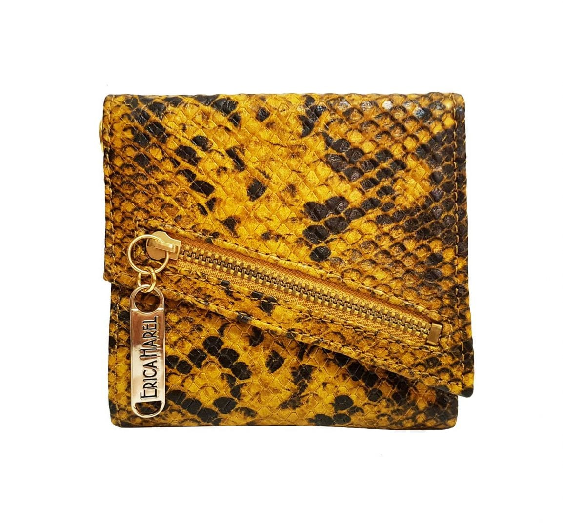 snakeskin printed womens leather wallet