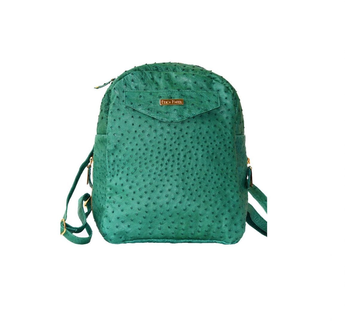green ostrich mini backpack