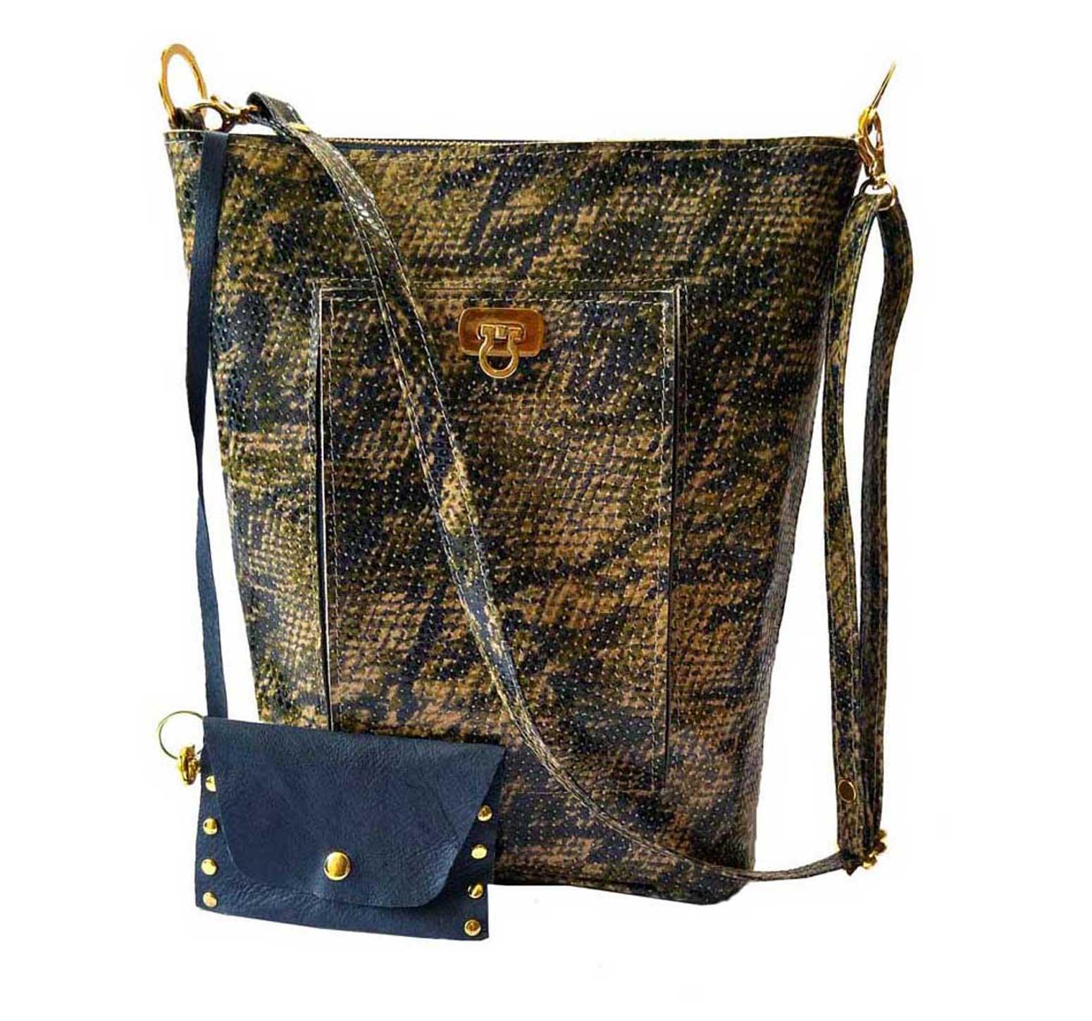 blue snake leather bucket bag