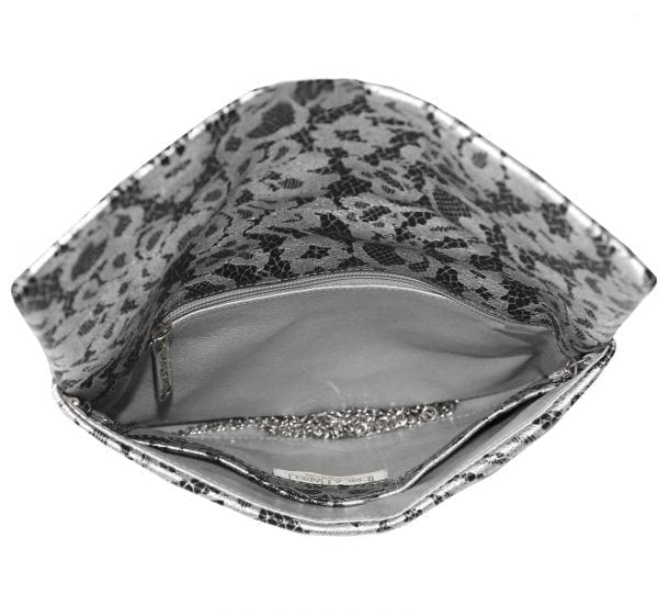 Silver Lace Black Leather Clutch