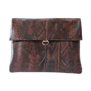 Python Brown Leather Clutch