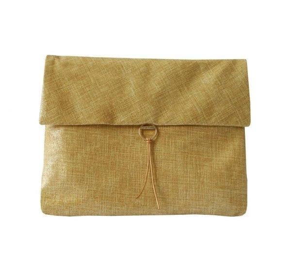 metallic gold leather clutch