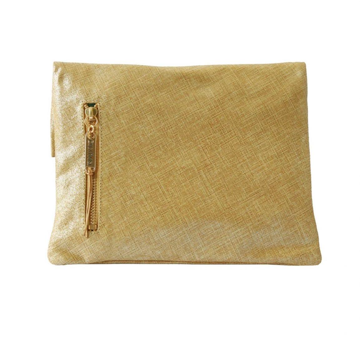 Italian Gold Chain >> Metallic Gold Leather Clutch Bag   Versatile 4-way Bag   Erica Harel