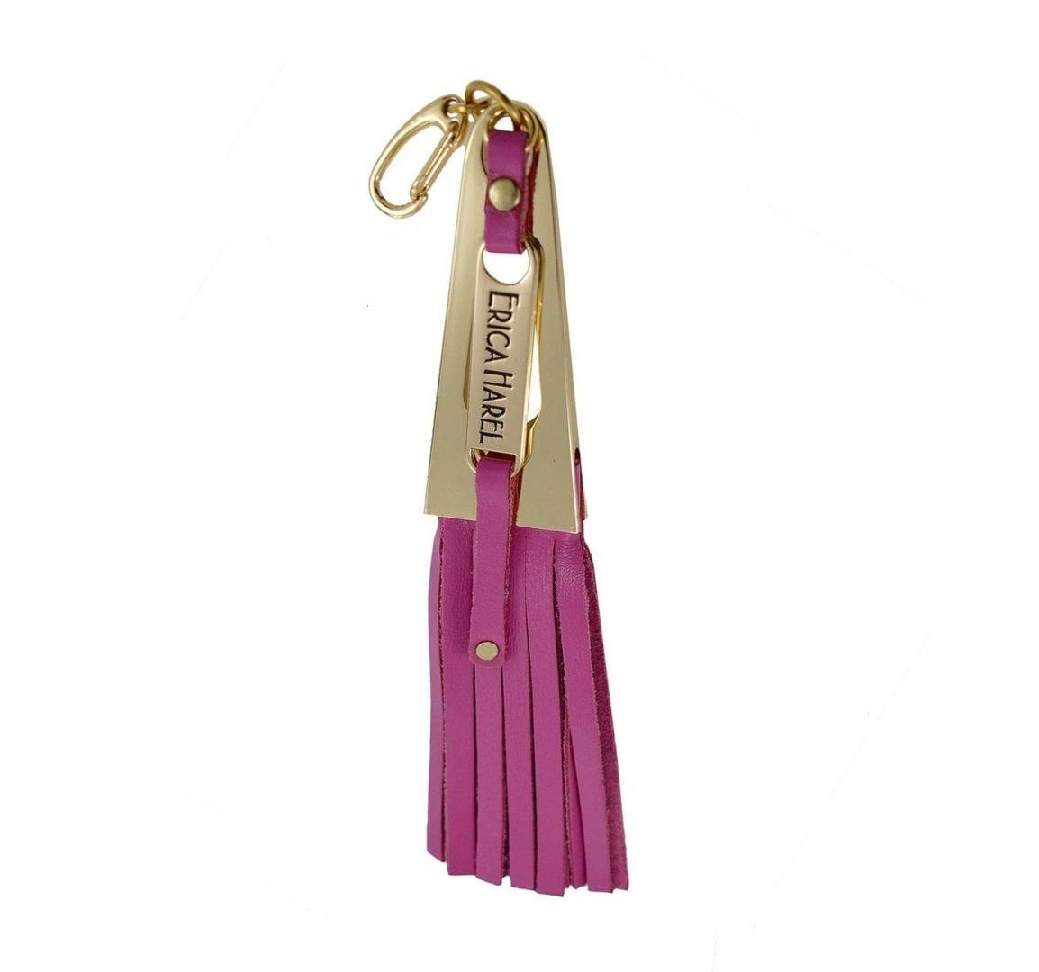 pink leather tassel purse charm