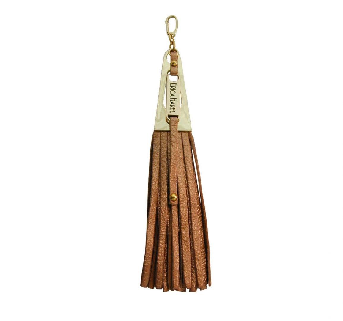 rose gold leather tassel purse charm