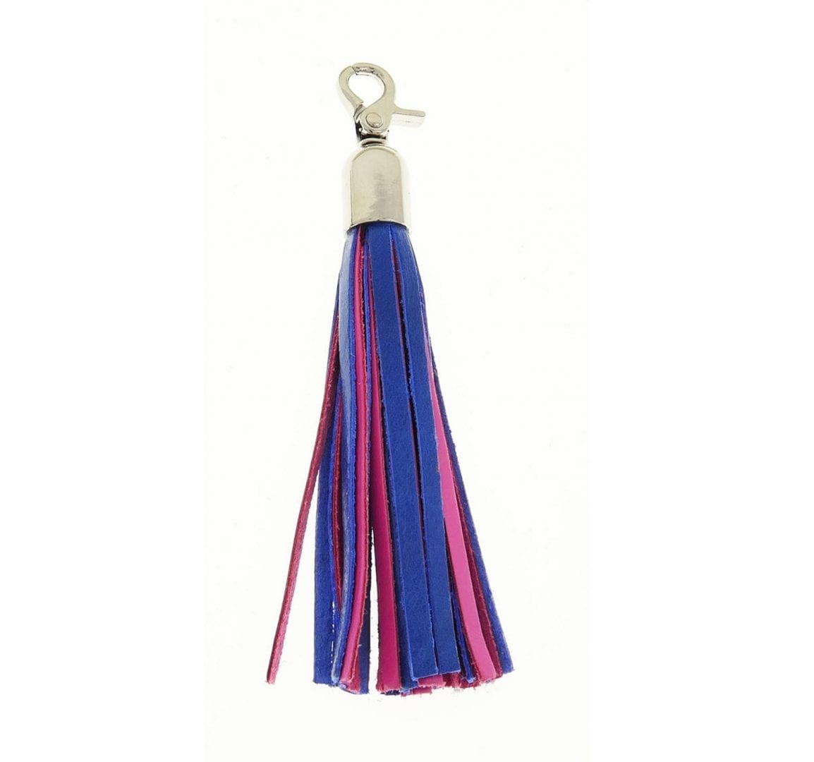 pink blue leather tassel purse charm