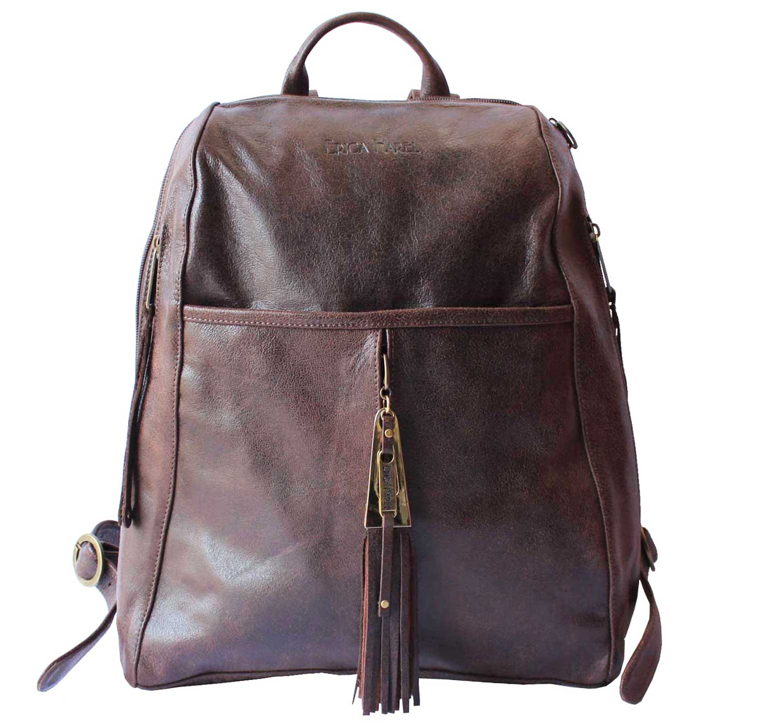 mens womens brown leather backpack