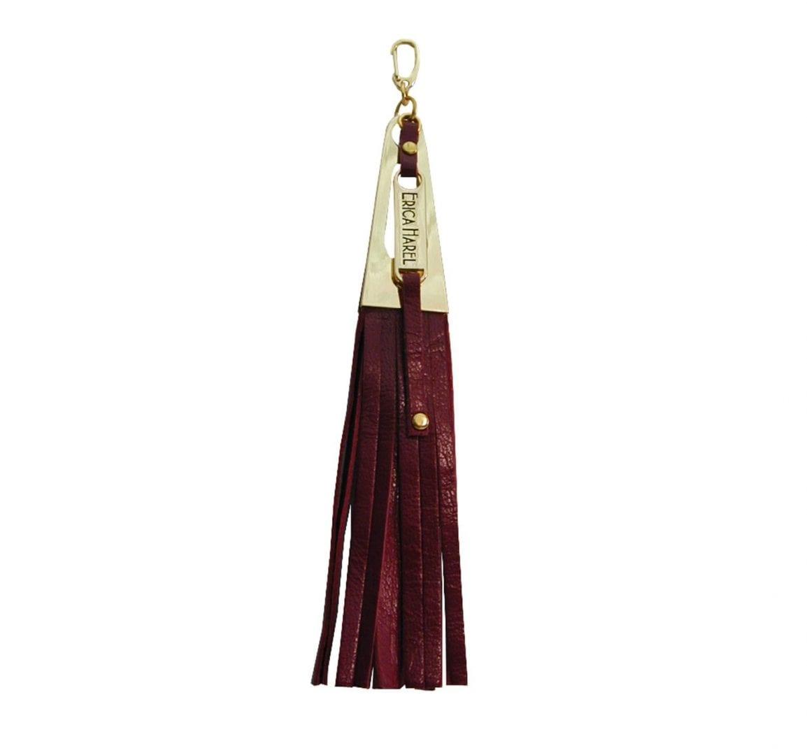 burgundy leather tassel purse charm