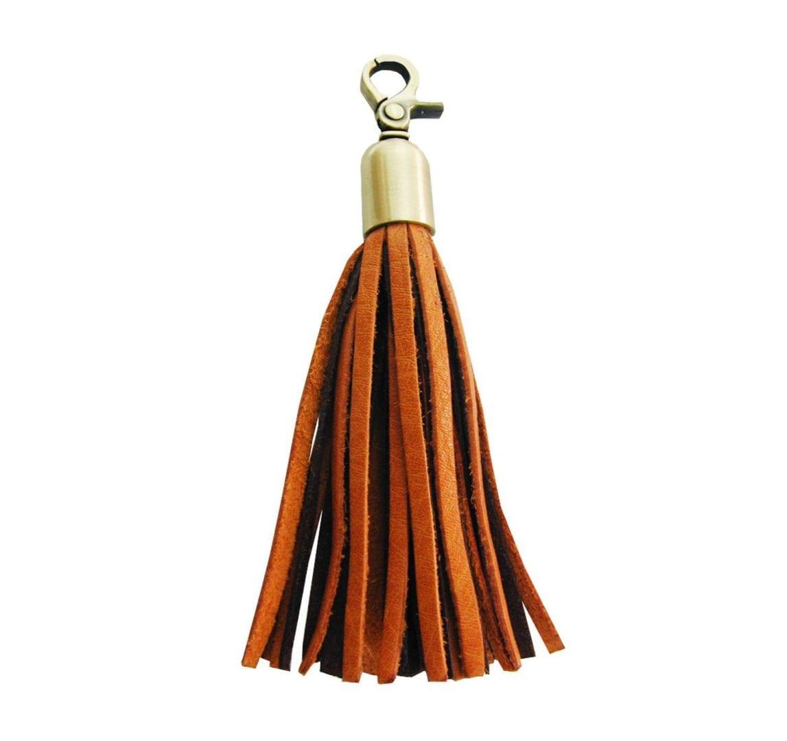 camel brown leather tassel purse charm