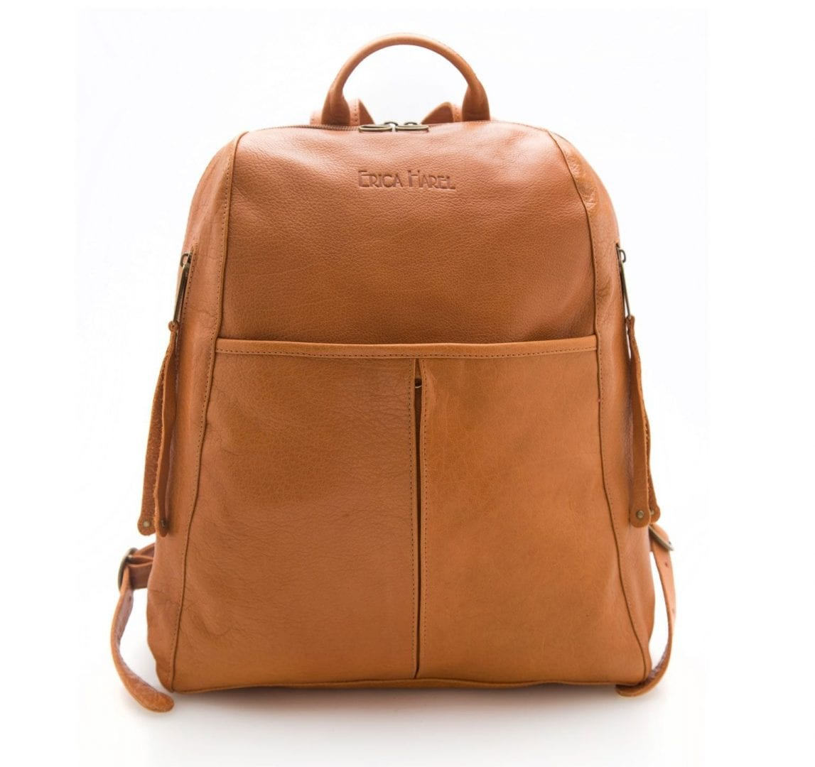 Mens Camel Leather Backpack | Calfskin Leather Backpack