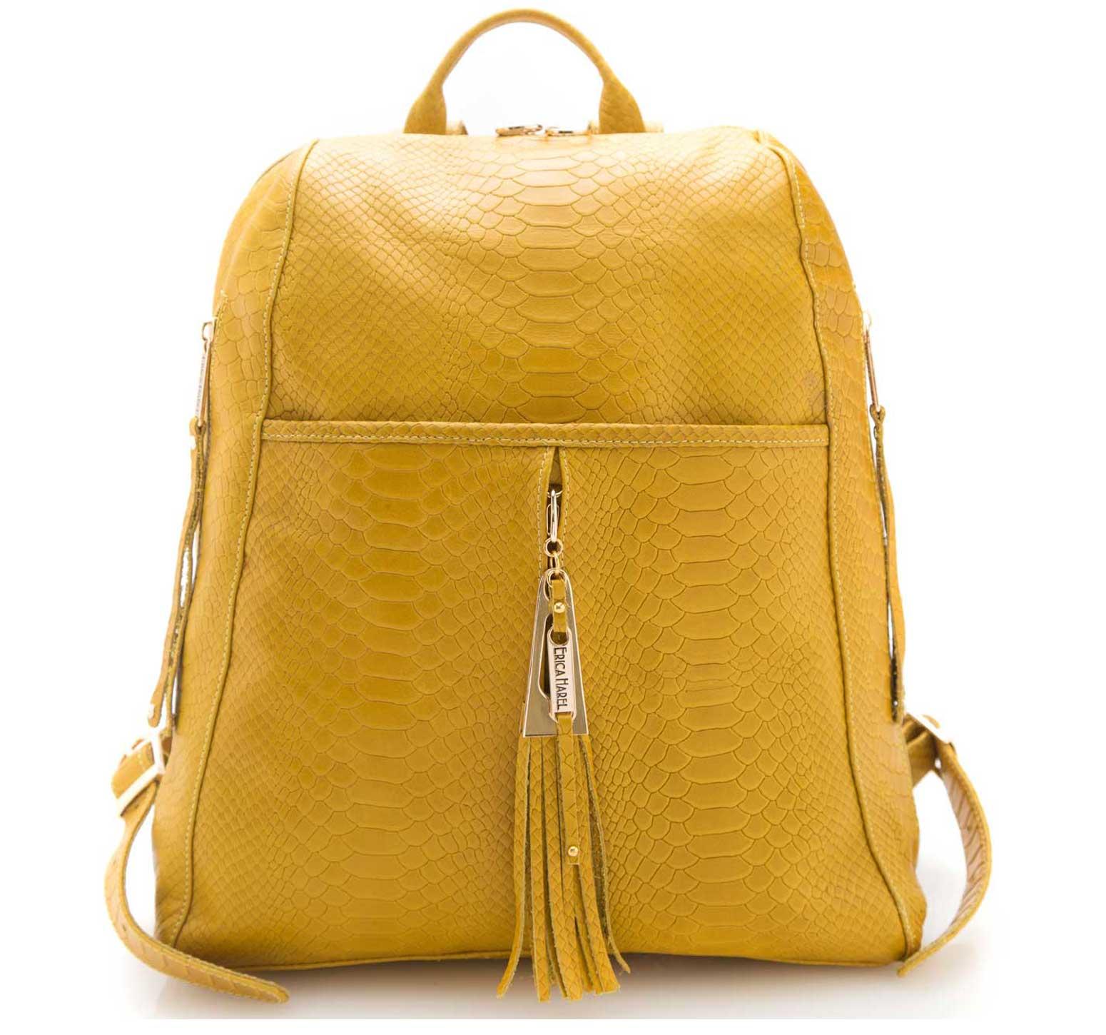 python ochre leather backpack