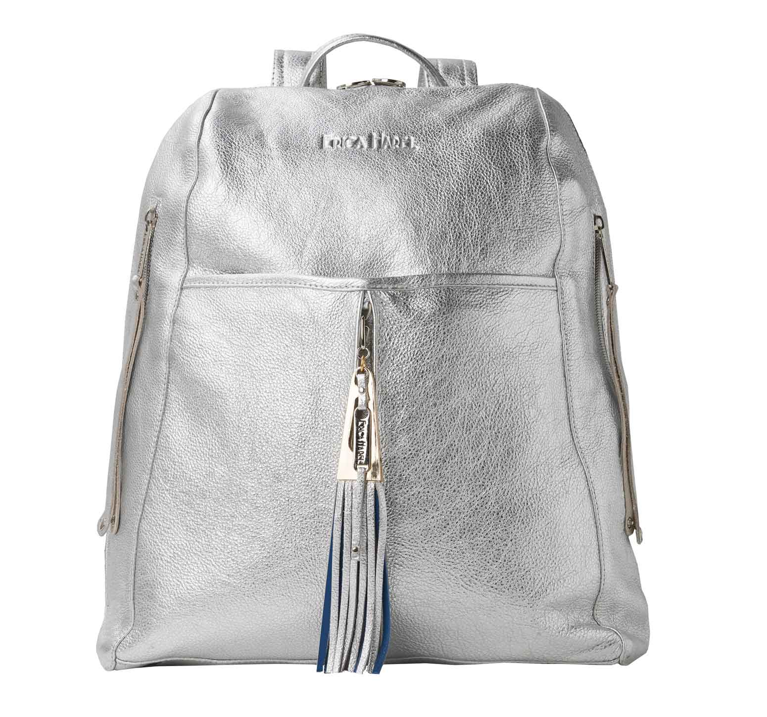 metallic silver leather backpack