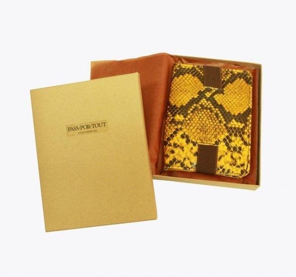 Ochre Snake Leather Passport Case