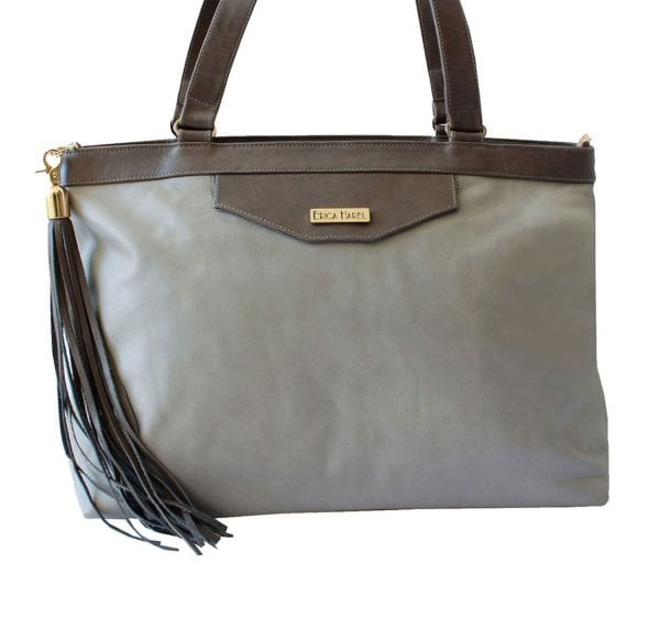 taupe leather tote