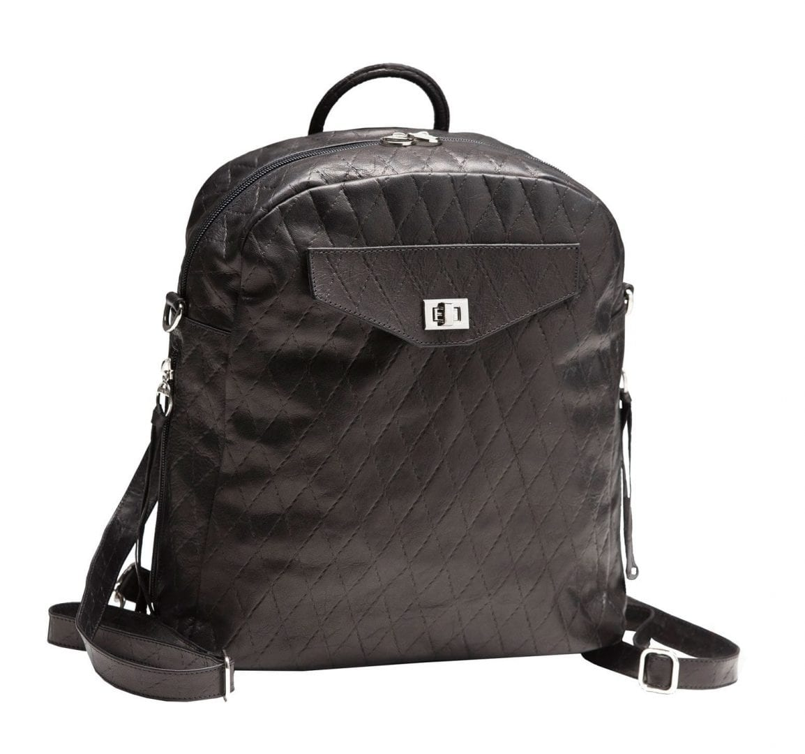 Small Black Leather Backpack | 3-Way Bag