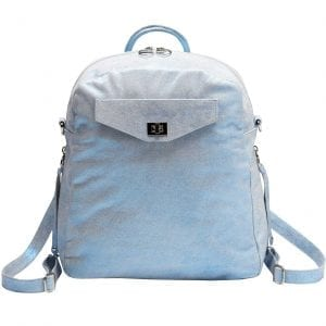 three-way iridescent blue leather shoulder bag