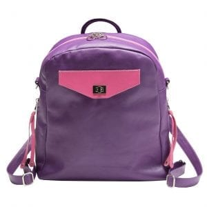 Three-Way Purple Leather Shoulder BAg