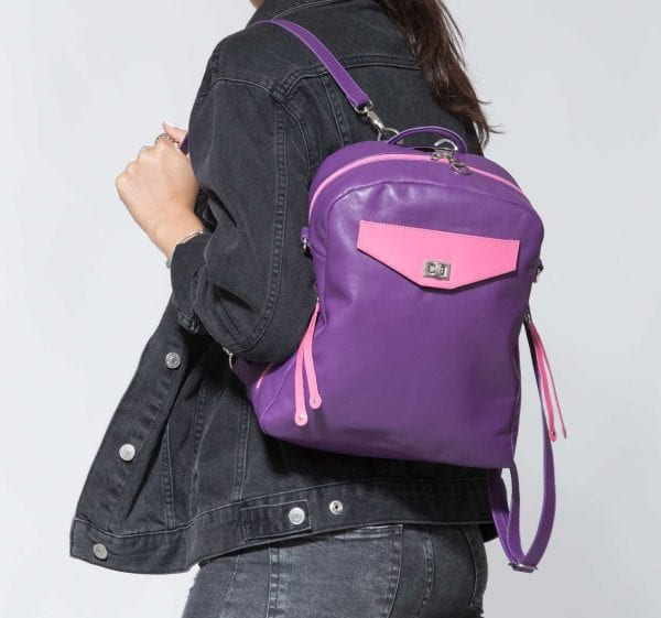 Small Purple Leather Backpack | 3-Way Bag