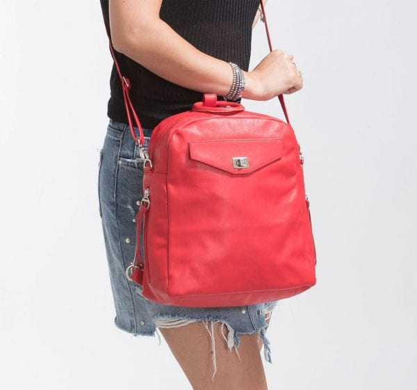Small Red Leather Backpack | 3-Way Bag
