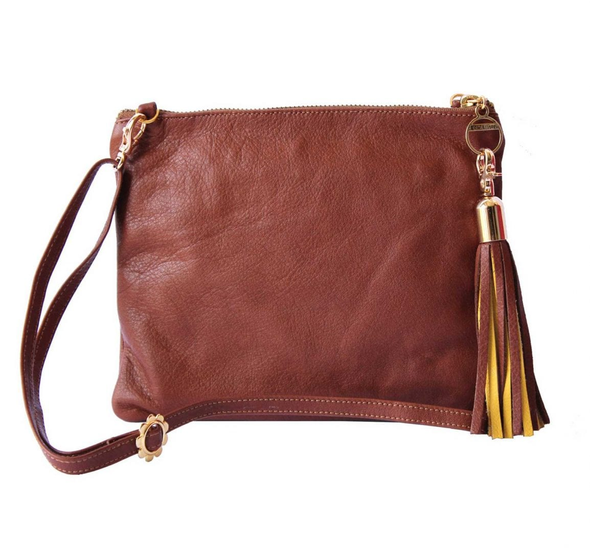 Brown Leather Mini Bag with 2-Color Tassel